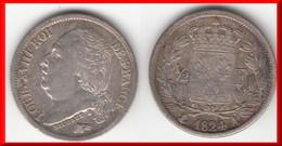 **** 1/2 FRANC 1824 A LOUIS XVIII - ARGENT **** EN ACHAT IMMEDIAT !!! - France