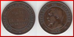 MONNAIE DE VISITE *** 10 CENTIMES 1853 A NAPOLEON III TETE NUE - LA VILLE DE LILLE RECONNAISSANTE *** EN ACHAT IMMEDIAT - Commémoratives