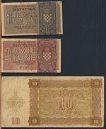 °°° CROAZIA - 1 2 10 KUNA 1941/1942 °°° - Croatie