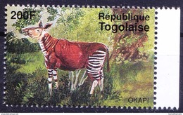 Okapi, Closely Related To Giraffe, Wild Animals, Togo 1995 MNH - Giraffes