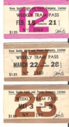 3 Weekly Tram Passes Nova Scotia Light And Power Company, Limited  1943 - Tickets - Vouchers