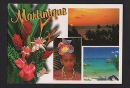 MARTINIQUE Flowers Flora Botanic Seascape Girl Postcard Stamp Z1 - Postcards