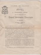 Projet Appel De Monseigneur L'Evêque Du Diocèse De Valence Pour La Construction D'un Grand Séminaire Diocésain 1931 - Historical Documents