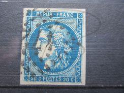 VEND BEAU TIMBRE DE FRANCE N° 46B , BLEU FONCE !!! - 1870 Bordeaux Printing