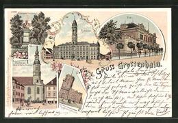 Lithographie Grossenhain, Rathaus, Post, Kupferbergthurm - Grossenhain
