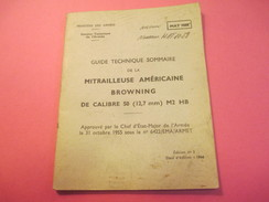 Fascicule/Guide Technique Sommaire De La  Mitrailleuse Américaine  BROWNING/Ministère Des Armées/MAT1044/1966  VPN115 - Libri, Riviste & Cataloghi