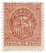(I.B) Philippines Telegraphs : 12 4/8c Red (1896) - Filippine