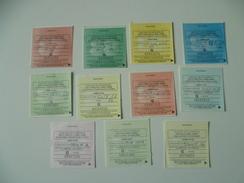 LOT DE 11 RECU   VIGNETTE AUTOMOBILE   GRATIS - Revenue Stamps