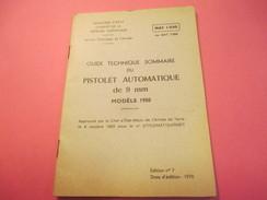 Fascicule/Guide Technique Sommaire/PISTOLET Automatique De 9 Mm Modèle 1950/Ministère D'Etat/MAT1030/1970  VPN117 - Books, Magazines  & Catalogs