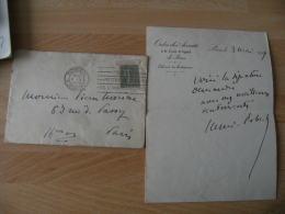 Lettre Autographe Henri Robert Avocat Historien Batonnier Paris 1914 Avec Enveloppe - Autographes