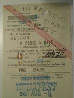 H1.2  Ticket De Train - Railway - PARIS-BALE Via Chaumont Petit Croix 1931 -Bureau Budapest - Transportation Tickets
