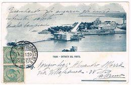B2984 - Trani, Entrata Del Porto, Angolo Leggermente Piegato, Retro Senza Righe, Viaggiata 1920 - Trani