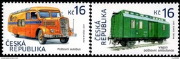 Czech Republic - 2017 - Historical Vehicles - Post Bus And Railroad Mail Car - Mint Stamp Set - Tsjechië
