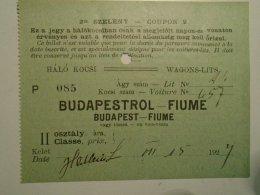 H1.5  Ticket De Train -Schlafwagen-Wagons-Lits -  Railway -  Budapest  -FIUME -Croatia 1927 - Transportation Tickets