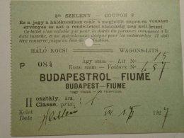 H1.6 Ticket De Train - Hálókocsi - Schlafwagen -Voiture-Lit - -Wagons-Lits- Railway -  Budapest  -FIUME -Croatia 1927 - Unclassified