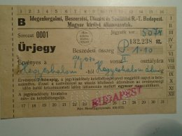 H1.9 Ticket De Train - Railway -  Budapest  -Hegyeshalom To - Austria 1934 - Transportation Tickets