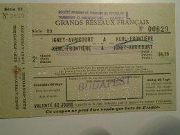 H1.10 Ticket De Train - Railway - Igney Avricourt - Kehl Frontiere   FF34,25 Bureau Budapest 1934 - Transportation Tickets