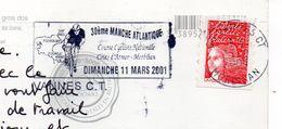 """2001-flamme VANNES CT-56--30ème Manche  Atlantique (cyclisme,vélo) Sur Cpm Bretagne""""Avis De Tempête""""-phares - Marcophilie (Lettres)"""