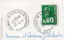 1976--cachet Manuel Rond--15-LASCELLE-MANDAILLES-Cantal  Sur Carte Postale Rocamadour-46 - Marcophilie (Lettres)