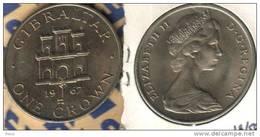 GIBRALTAR 1 CROWN CASTLE & KEY FRONT QEII HEAD BACK 1967 EF READ DESCRIPTION CAREFULLY !!! - Gibilterra