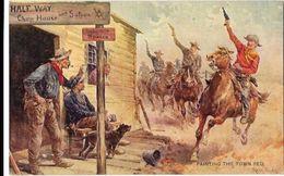 LOT De 4 CP : Far West , Indiens, Illustrateur Frank Feller - Amérique