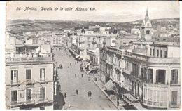 POSTAL    MELILLA - NORTE DE AFRICA  - DETALLE DE LA CALLE ALFONSO XIII - Postales