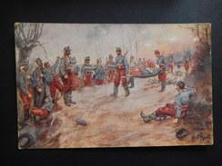 CPA - RARE - L'EPOPEE - SOUS LA RAFALE DES BALLES ENNEMIES - LES CHASSEURS D'AFRIQUE SORTENT DE LA TRANCHEE  - R8081 - Militaria