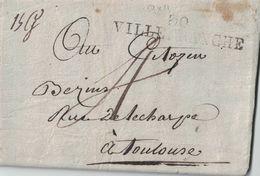 HAUTE GARONNE - 30 VILLEFRANCE - AVEC TEXTE ET SIGNATURE LE 9 OCTOBRE 1801 - PERIODE EMPIRE ( P1) - Marcophilie (Lettres)