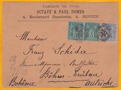 1889 - Enveloppe Commerciale De Rouen Vers Bohm Trubau, Bohème, Autriche - 25 C Type Sage - 1876-1898 Sage (Type II)