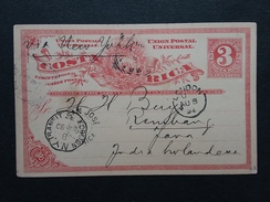 COSTA RICA - Cartolina Postale Spedita Nelle Indie Olandesi Nel 1894 Via New York + Spese Postali - Costa Rica