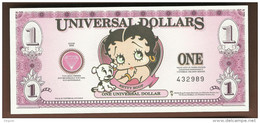 "Spielgeld ""BETTY BOOP"", 1 Dollar, Beids. Druck, RRRRR, UNC, 160 X 70 Mm - Banknoten"