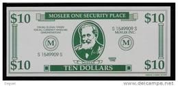 """Test Note """"MOSLER"""" Testnote, 10 US-Dollar, Beids. Druck, RRRRR, UNC, Firma Existiert Nicht Mehr! - Ohne Zuordnung"""