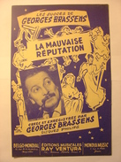 PARTITIONS  - GEORGES BRASSENS - LA MAUVAISE REPUTATION - PAROLES ET MUSIQUE - EDITIONS RAY VENTURA - Noten & Partituren