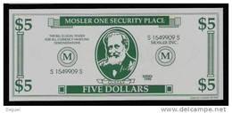"""Test Note """"MOSLER"""" Testnote, 5 US-Dollar, Beids. Druck, RRRRR, UNC, Firma Existiert Nicht Mehr! - Ohne Zuordnung"""