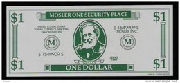"""Test Note """"MOSLER"""" Testnote, 1 US-Dollar, Beids. Druck, RRRRR, UNC, Firma Existiert Nicht Mehr! - Ohne Zuordnung"""