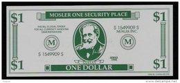 "Test Note ""MOSLER"" Testnote, 1 US-Dollar, Beids. Druck, RRRRR, UNC, Firma Existiert Nicht Mehr! - USA"