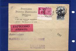 ##(YEL) -Italia -13-1-1958- Bologna - Busta  Espresso. Per La Città - 6. 1946-.. Repubblica