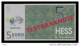 "Test Note ""HESS"" Testnote, 5 EURO, Beids. Druck, RRR, UNC - Sonstige"