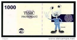 """Test Note """"PROTOMAT"""" Testnote, 1000 Units, Beids. Druck, RRR, UNC - Czech Republic"""