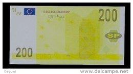 """Test Note, Hersteller """"SP"""" 200 EURO, Testnote, Beids. Druck, RRRR, UNC, 137 X 72 Mm - EURO"""