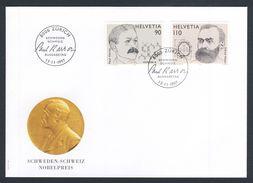 Switzerland Schweiz Suisse 1997 FDC I + Mi 1623 /4 - Nobel Prize / Nobelpreis - Paul Karrer + Alfred Nobel - Nobelprijs