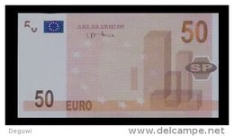 """Test Note, Hersteller """"SP"""" 50 EURO, Testnote, Beids. Druck, RRRR, UNC, 120 X 62 Mm - EURO"""