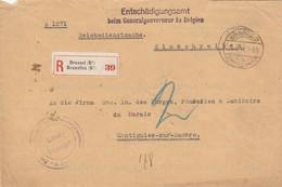 Recommande Des Services Allemands Avec étiquette R Belge Vers Montignies/sur/Sambre - Guerre 14-18