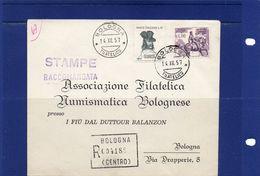 ##(YEL) -Italia -14-12-1957- Bologna -  Busta Stampe Raccomandate  Per La Città Con  Serie Garibaldi L.15 E L.110 - 1946-60: Storia Postale