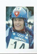 JEAN CLAUDE KILLY SKI ALPIN FRANCE TRIPLE CHAMPION OLYMPIQUE GRENOBLE 1968 CARTE AVEC AUTOGRAPHE 1997 - Autographes