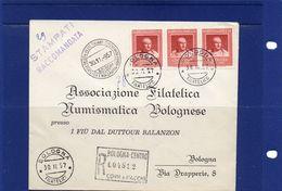##(YEL) -Italia -30-11-1957- Bologna -  Busta Stampe Raccomandate  Per La Città Con 3 Esemplari Cicerone L.25 - 1946-60: Storia Postale