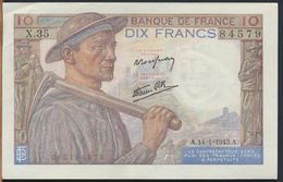 °°° FRANCE - 10 FRANCS 14/1/1943 °°° - 1871-1952 Circulated During XXth