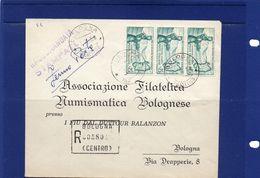 ##(YEL) -Italia -1-2-1958- Bologna -  Busta Stampe Raccomandate Fermoposta  Per La Città Con 3 Esemplari  Sardegna L.25 - 1946-60: Storia Postale