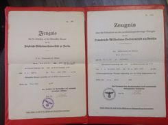 Zeugnis Friedrich Wilhelms Universität Berlin 2 Zeugnisse 1942, 1943 Medizin - Diplômes & Bulletins Scolaires