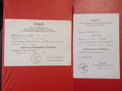 Zeugnis Friedrich Wilhelms Universität Berlin 2 Zeugnisse 1943 - Diplome Und Schulzeugnisse